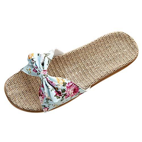 Damen Sandalen Hausschuhe Weibliche Böhmen Bowknot Badeschuhe Flachs Leinen Flip Flops Strand Schuhe Slipper,Himmelblau,37-38 EU