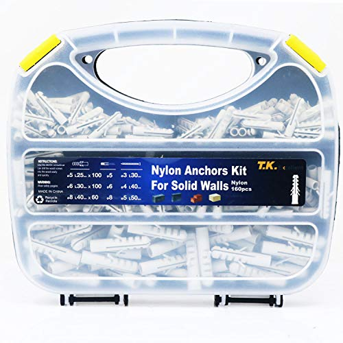 T.K.Excellent Plastic Drywall Ribbed Anchors Solid Materials Drywall Anchor Assortment Kit,260 Pcs