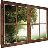Cuadro Imagen XXL 3D Ventana Vista Impresión de arte Paisaje Rústico Verde 120x80 cm