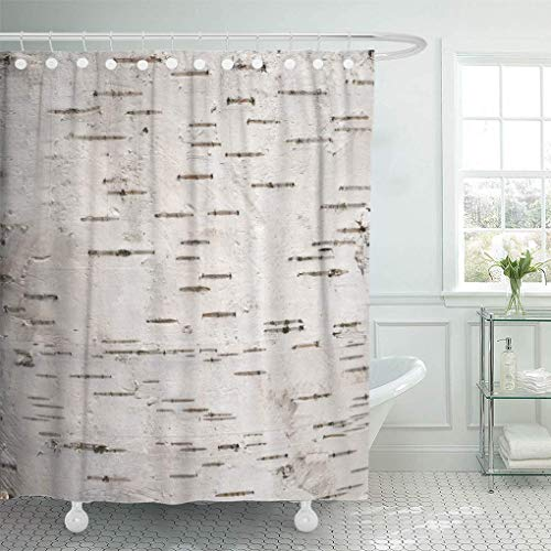 lovedomi Shower Curtain Closeup White Bark of The Cortex Tree Birch Wood Shower Curtains Sets with 12 Hooks 72 x 78 Inches Waterproof Polyester Fabric