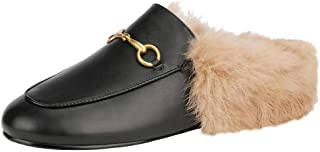 Fur Mules for Women Leather Low Heel Loafers Pointed Toe Backless Slides Rabbit Fur Mule Flats Shoes