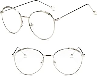 Comfortable Retro Round Frame Glasses Frame Pearl Can Be Equipped with Myopia Optical Anti-Blue Light Female Eyes Beautiful (Color : Silver, Size : +1.5)