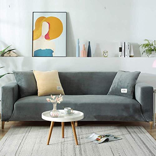 IUYJVR Housses de canapé en Peluche pour canapé de Coussin 1 2 3 4, housse de canapé Extensible en Velours Anti-poussière, housse de Chaise inclinable protecteur de canapé de meubles Gris A 3 Place
