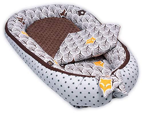 PALULLI - Nido de bebé multifuncional con colchón adicional suave, coco, cuna, cuna de viaje para recién nacidos, 100% algodón Oeko-Tex (bosque Brownie)