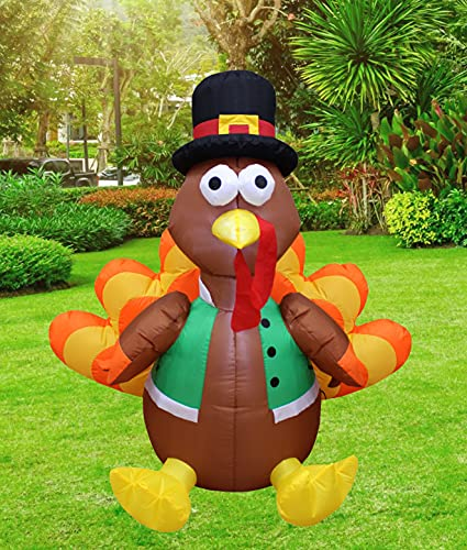 4 Foot Tall Happy Thanksgiving Inflatable Turkey with Pilgrim Hat Perfect Thanksgiving Autumn LED Lights Decor Outdoor Indoor Holiday Decorations, Blow up Lighted Yard Lawn Decor Home Family Outside