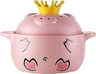 Casserole Fashion Ceramic Soup Pot Cute Pig Nutrition Porridge Pot Child Nutrition Porridge Stew Pot High Temperature Soup...