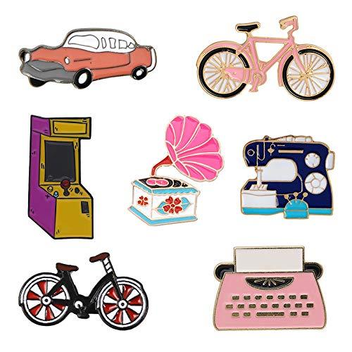jiao Colección de invención Retro Broches Coche Bicicleta Máquina de Coser Fonógrafo Máquina de Escribir Máquina de Juego Pines Insignias Regalo Style4
