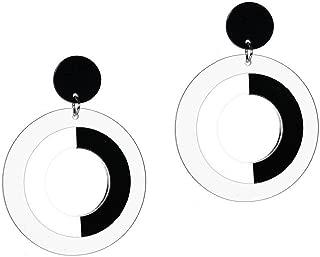 UK SELLER 60s RETRO STYLE MOD PLASTIC BLACK WHITE ROUND LARGE DANGLE EARRINGS