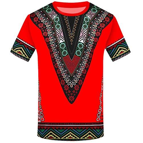 iYmitz Herren Sommer Kurzarm T-Shirt Mode Afrikanisches Gedrucktes Shirts Rundausschnitt Freizeithemd Tops Männer Bluse(rot,40 DE/XL CN