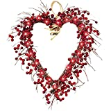 16 Inch Valentine's Wreath Red Berry Heart Shape Front Door LED Light Decorations Garland White Seeds Valentines Day Decor Indoor Home Outdoor Party (Red)