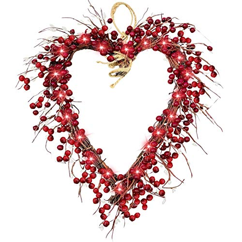 JDDJ Valentine's day 16 inch heart garland with light, flocked hybrid and LED lights (Red)