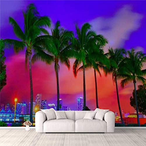 3D Wallpaper Miami Skyline Sunset with Palm Trees Florida Self Adhesive Bedroom Living Room Dormitory Decor Wall Mural Stick and Peel Background Wall Ceiling Wardrobe Sticker