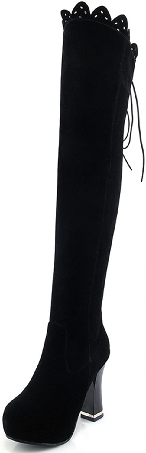Rongzhi Womens Over The Knee Boots Thick High Heels Suede Boots Platform Round Toe Lace Up Black