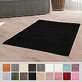Taracarpet Hochflor Langflor Shaggy Teppich geeignet für Wohnzimmer Kinderzimmer und Schlafzimmer flauschig und pflegeleicht schwarz 120x170 cm