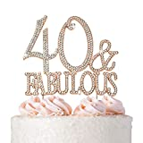 40 Cake Topper - Premium Rose Gold Metal - 40 and Fabulous - 40th Birthday Party Sparkly Rhinestone Decoration Makes a Great Centerpiece - Now Protected in a Box