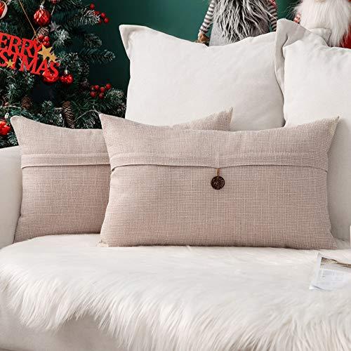 MIULEE Natale Confezione da 2 Federe per Cuscini Copricuscini in Lino Incrociato Fodere Decorativi Bottone per Casa Divano Auto 30X50cm Bianco Crema