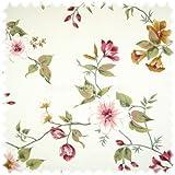 Heiro Möbelstoff Flora Wildrose in Englisch Leinenoptik
