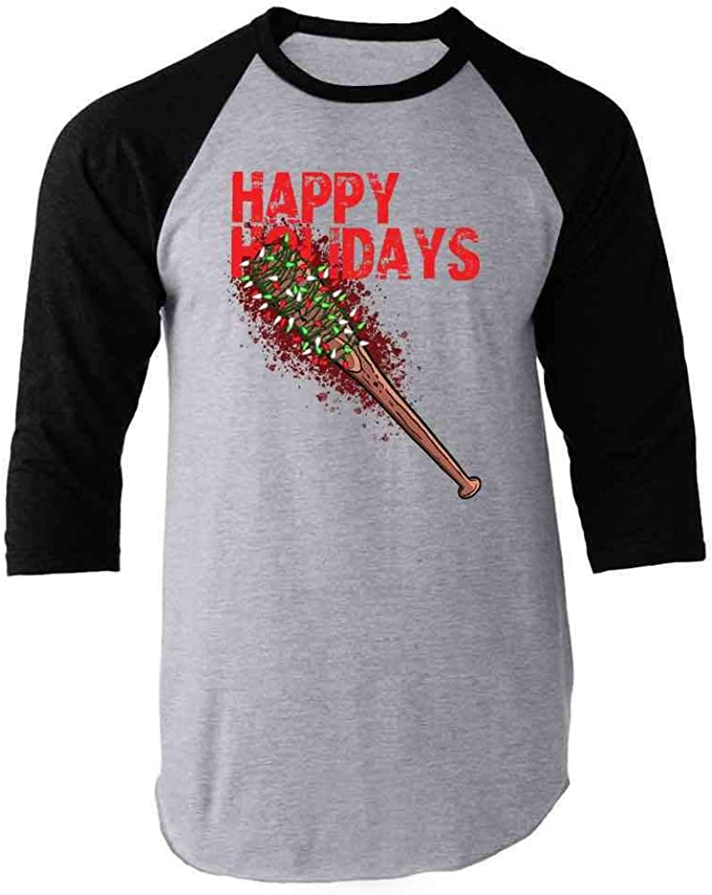 Pop Threads Happy Holidays Lucille with Christmas Lights Black 3XL Raglan Baseball Tee Shirt