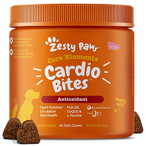 Zesty Paws Cardiovascular Soft Chews for Dogs - with AlaskOmega Fish Oil with Omega 3 Fatty Acids + Antioxidants - Plus CoQ10, L Taurine & L Carnitine for Dog Heart Health - 90 Count