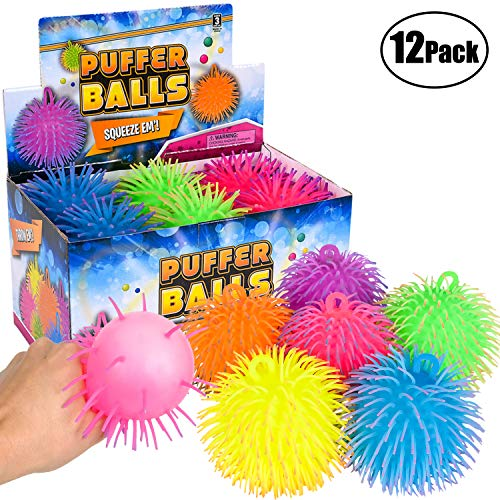 Puffer Balls (Pack of 12) - Stress Relief Balls Bulk, Neon Sensory, Stress Relief & Therapy Ball Toy for Kids for Goodie Bags, Stocking Stuffers and Party Favors by Bedwina