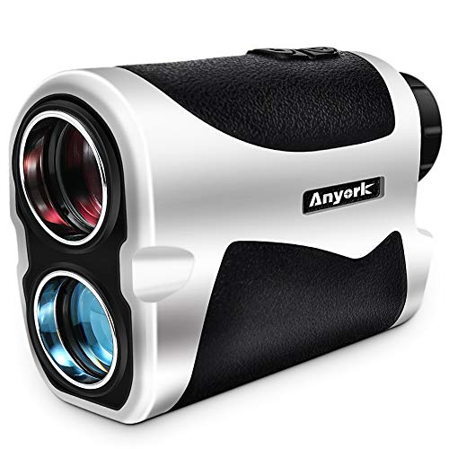 Anyork Golf & Hunting Rangefinder 6X Laser Range Finder 1500 Yard with Slope On/Off,Flag-Lock Tech with Vibration, Continuous Scan Support - with Battery,Black
