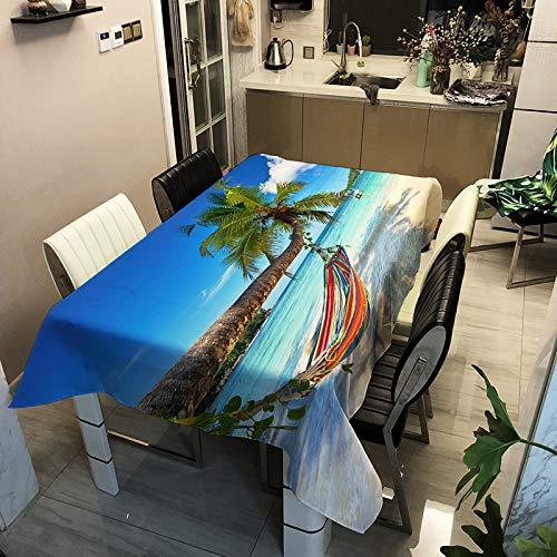 Nappe Imperméable en Polyester Simple Moderne Série Bord De Mer Tapis De Table d'impression Nappe Multifonctionnelle