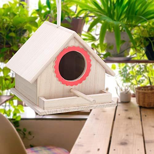Aunmas vogelhuisje van hout, duurzaam, voor het ophangen van manden, voederkist voor vogels voor huis of tuin