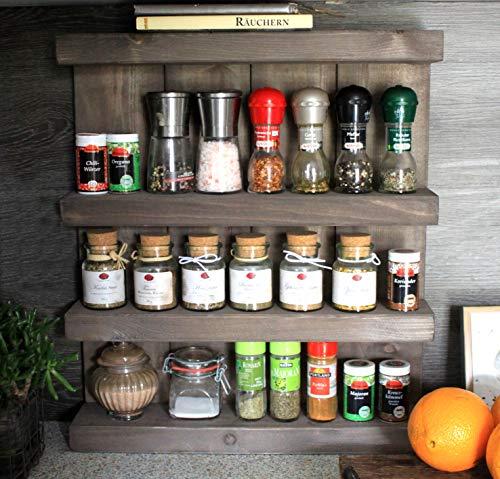 Dekorie Gewürzregal aus Holz - für die Wand oder stehend - Shabby Vintage Braun - 4 Stellflächen - 57 x 50 x 12 cm - Massivholz