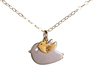 New Mom Necklace/New Baby - Personalized Mother Child Bird with Initial, Baby and Mommy Gift