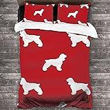 Diseño de silueta de perro rojo lavado 3 piezas juegos de cama, decoración de dormitorio textil casero simple 86 x 70 pulgadas