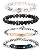 FIBO STEEL 4 Pcs Couples Bracelet for Men Women His & Her Crown Queen Bracelets Set 8mm Beads Bracelets