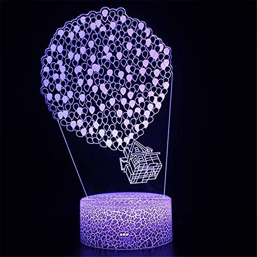 Lámpara de ilusión 3D de 16 colores que cambian de color acrílico luz de noche con luces de escultura artística, decoración del hogar, cargador USB, juguetes bonitos regalos ideas cumpleaños