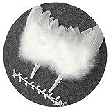 Disfraz de bebé fotografía Prop Bebé recién nacido accesorios de fotografía Pluma Alas de ángel y conjunto de diadema Bebé Accesorios for el cabello Foto Prop vestuario (Blanco / Dorado) Ropa de recie