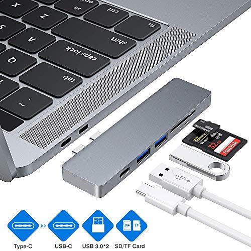 Hub USB C, adattatore Hub di tipo C, 2 porte USB 3.0, lettore di schede TF/SD, alimentazione USB-C, adattatore 5 in 1 in alluminio per MacBook Pro da 13 a 15 e 2016/2017/2018
