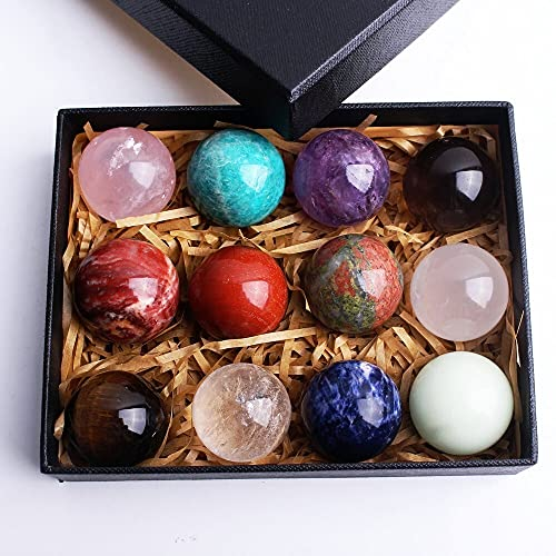 KGDC Bola de Cristal 12 unids Bola de Cuarzo de Esfera de Cristal Natural Mezclado 7 Chakra Rockstone Mineral Espécimen Curación de la colección Caja de Regalo Crystal Sphere (Color : 12pcs A)