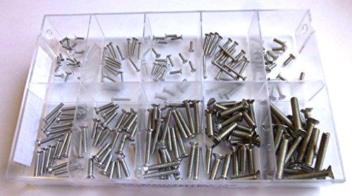 Sortimentskasten mit 200 Stück kleinen Senkschrauben nach DIN 963 aus Edelstahl A2 (M1,6, M2, M2,5, M3 und M4), Schlitz, Senkkopf. Minischrauben Sortiment inkl. beschrifteter Box