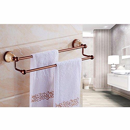 ZXC Bathroom Rack Badhanddoek, 60 cm, zonder boren, aluminium, ruimte voor handdoeken, douchecabine met dubbele stang, handdoekhouder Stijl 3