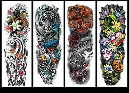 Full arm temporary tattoo, 4 large temporary tattoo transfer stickers, black tattoo sleeve, flower skull animal prosthetic arm tattoo, male, female, w