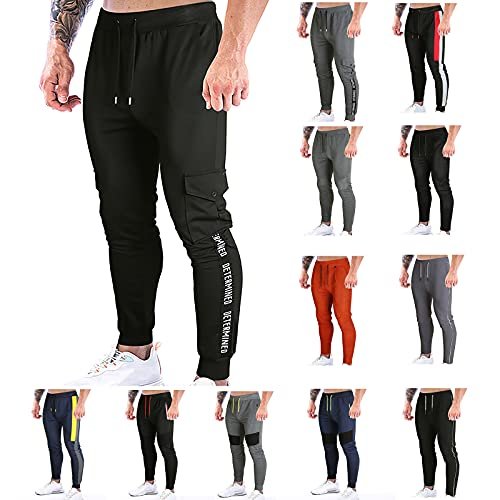 BGUK Pantalones de chándal para hombre, pantalones de chándal para hombre, pantalones de ocio, pantalones cargo para exteriores, pantalones de entrenamiento con cordón y bolsillo, Negro2, M