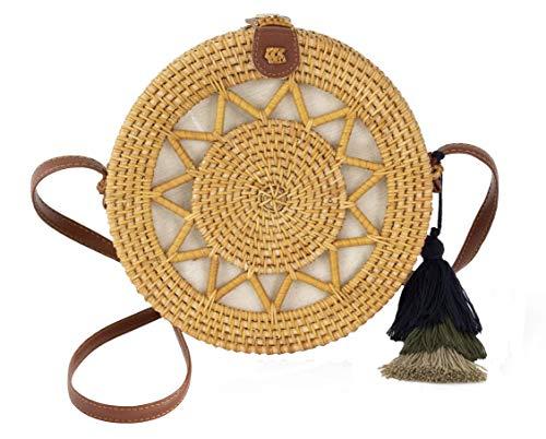 Special Design Wicker Straw Bag Purse for Women   Hand Woven Boho Bali Ata Rattan Crossbody Handbags (Sun Natural)
