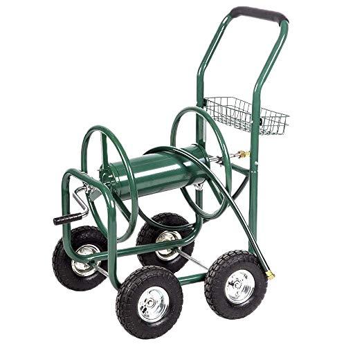 Heavy Duty Garden Water Hose Reel Cart- 300 Ft Liberty Water Hose Storage Reel Cart - 5/8 in X 6 Ft Water Hose w/4 Wheels & Storage Basket -Outdoor Metal Hose Reel System for Garden Yard Water Plant