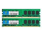 Rasalas DDR2 800 PC2-6400 DDR2 4GB Kit (2x2GB) DDR2-800 Udimm Ram Desktop PC2-6400U 2RX8 1.8V CL6 240 Pin Non-ECC Unbuffered Desktop RAM Memory Modules