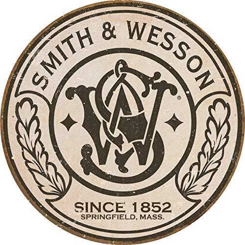 """Desperate Enterprises Smith & Wesson - Round Tin Sign, 11.75"""" Diameter"""