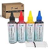 F-Ink - Inchiostro a sublimazione compatibile, per stampanti a getto d'inchiostro Epson 4 colori, 4 x 100 ml (nero/ciano/magenta/giallo)