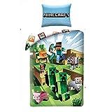 Halantex Juego de Cama Minecraft Cactus Que corren Funda nórdica y Funda de Almohada de algodón 140 x 200cm + Funda de Almohada 70 x 90cm Original