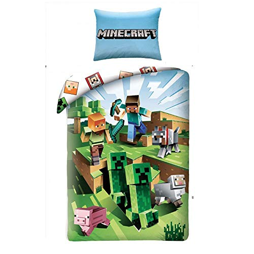 Minecraft Bataille Ensemble de Housse de Couette en Coton Simple