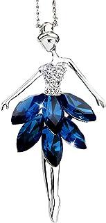 Topasaire Halsketten Für Frauen Silber Modeschmuck Damen süß Ballettmädchen Choker Chain Weiblich Pullover Kette Anhänger Schmuck Lange Deko Party Zubehör Geschenk FürFrauen Blau(eine für eine)