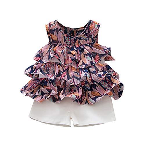 LEXUPE Kleinkind Baby Kinder Mädchen ärmellose Rüschen Leaf Print Kuchen Kleid Tops Shorts Set(Lila,80/8)