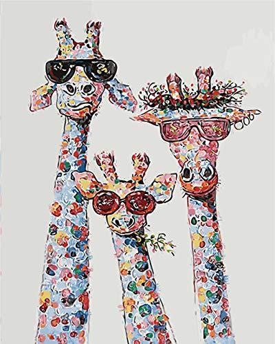 Maysurban DIY Dipinto ad Olio con i Numeri Kit Fai-da-Te Dipingere con i Numeri Animali per Adulti e Bambini Pittura a Olio su Tela Senza Cornice 40x50cm