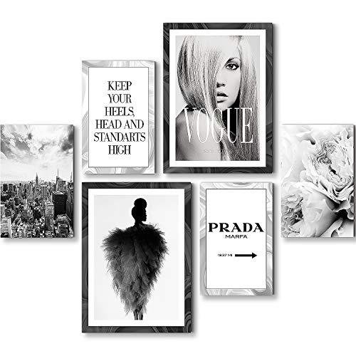 Wandbilder Marfa - KEIN RAHMEN BENÖTIGT - Wohnzimmer Schlafzimmer Flur - Bilder Set Fashion Schwarz Weiss - N015763a